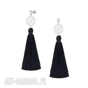 Długie kolczyki z czarnym chwostem - boho lavoga srebro 925
