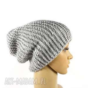 czapka szara unisex krasnal robiona na drutach - czapka, wełna, przędza