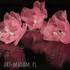 handmade ozdoby do włosów w kolorze różu