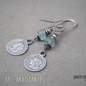 kolczyki wiszące z akwamarynem i monetą, srebro, moneta, wiszące, minerały