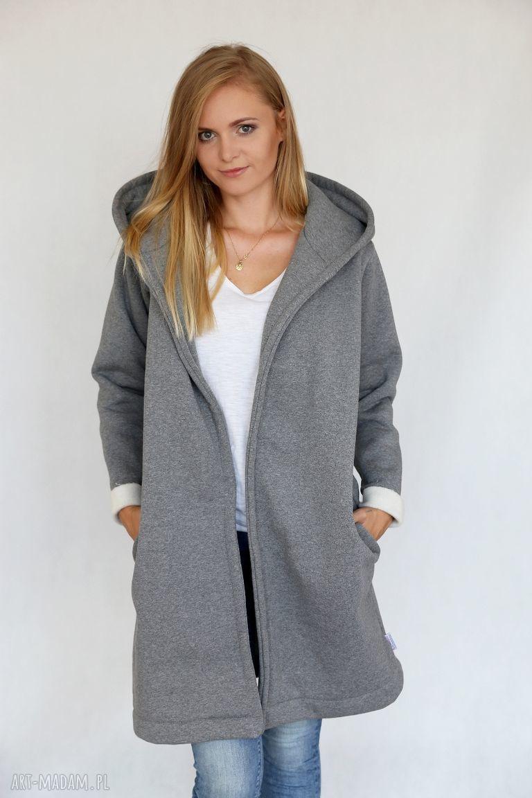 ręcznie zrobione płaszcze l - xl płaszcz z kapturem szary melanż