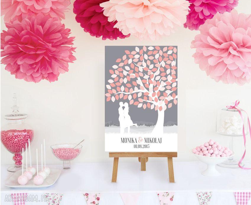 hand-made księgi gości drzewo wpisów zakochanej pary 50x70 cm