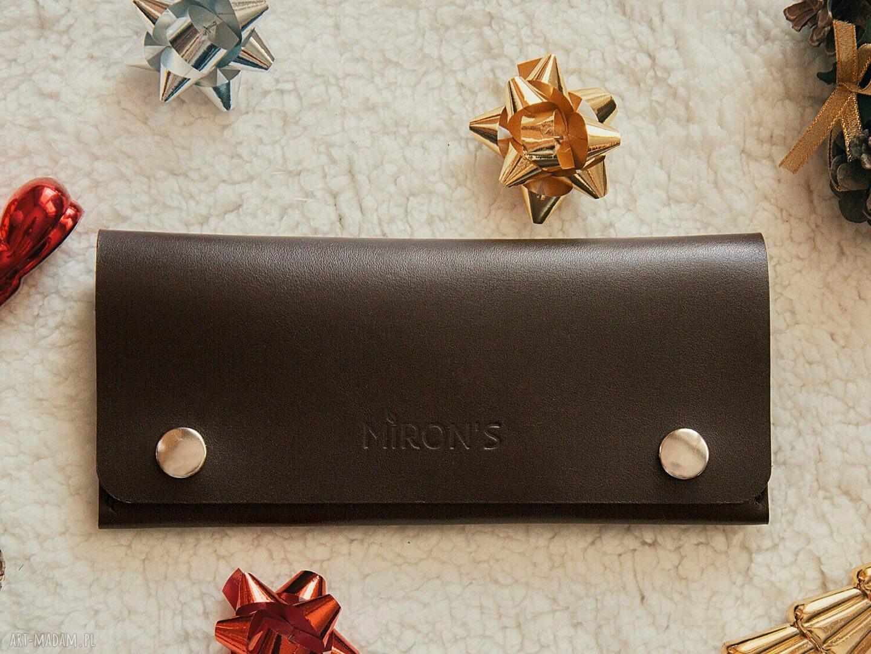 trendy portfele portfel skórzany czekoladowy