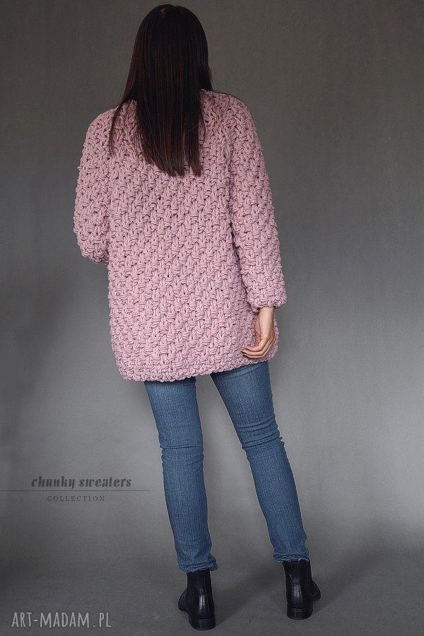 ręcznie robione swetry chunky heather