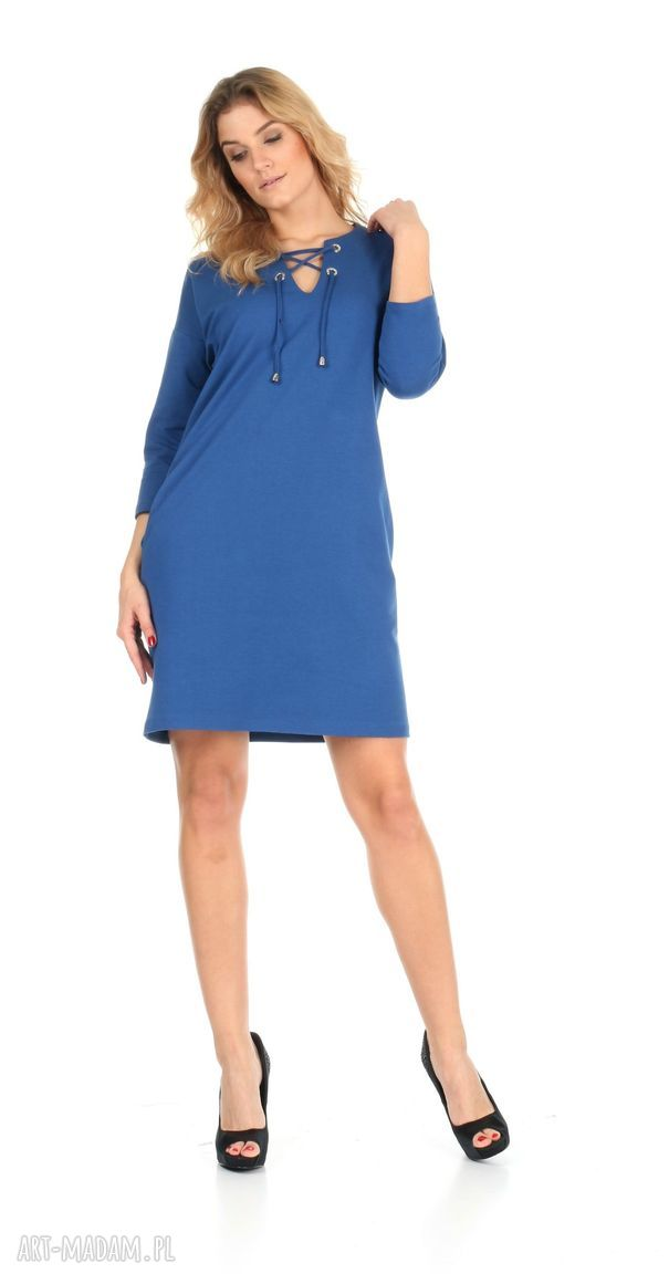 nietuzinkowe sukienki lalu 46-sukienka sznurowany dekolt