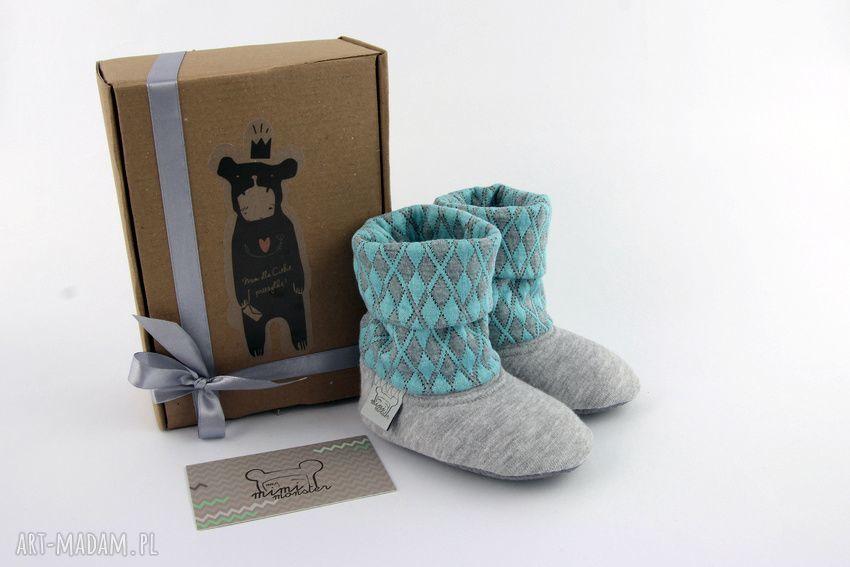 ręcznie robione buciki bambosze z golfem / hand made / szaro - turkusowe