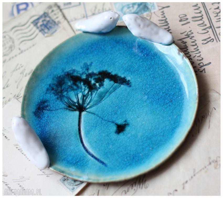 niepowtarzalne ceramika komplet turkusowych talerzyków