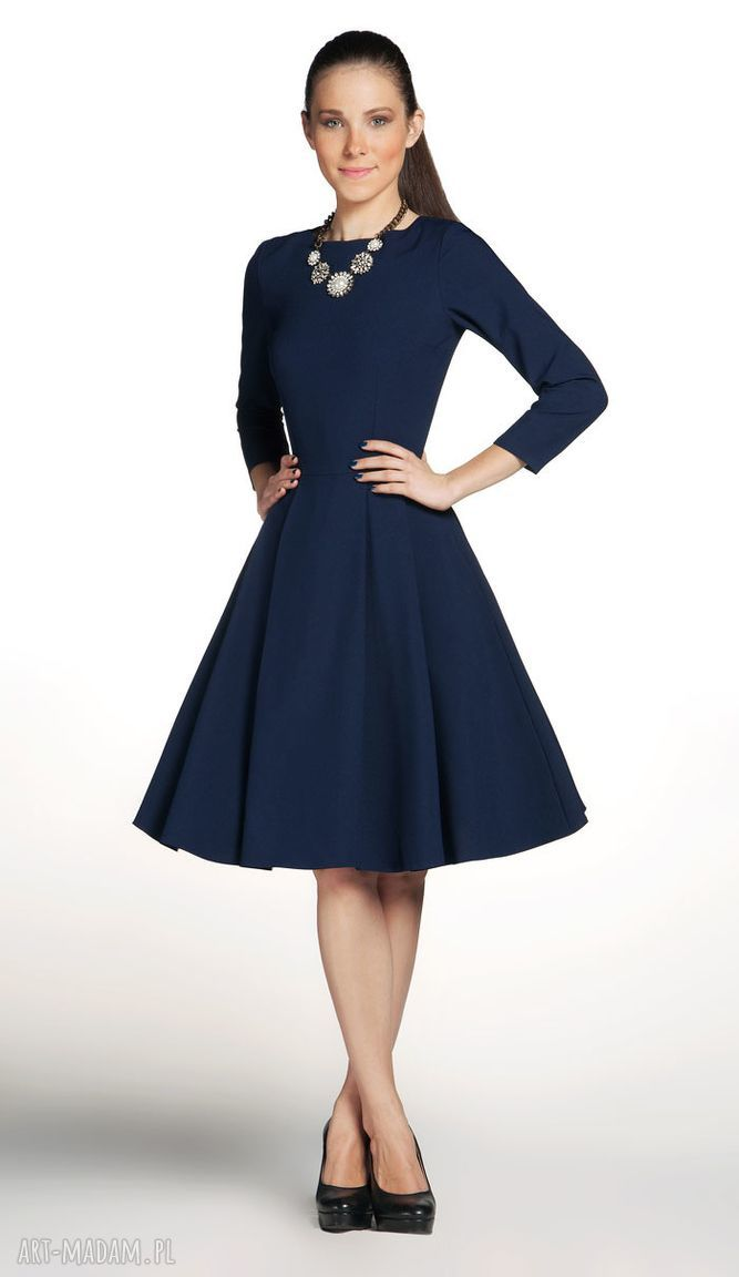 niepowtarzalne sukienki rozkloszowana sukienka zuza midi granat