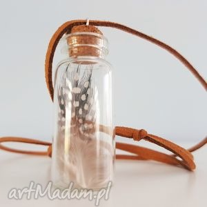 naszyjniki naszyjnik etno styl buteleczka wish piórko, naszyjnik