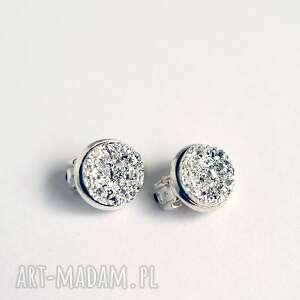 klipsy - druzy jasno srebrne małe, klipsy, eleganckie, druzy, klasyczne