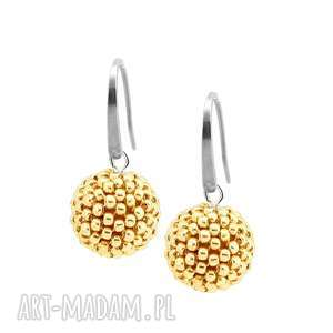 kolczyki glamour - silver gold stal szlachetna, eleganckie, kolczyki