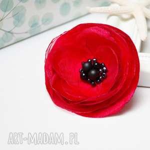 CZERWONA broszka kwiatek, czerwony mak, tkaninowa przypinka, damska