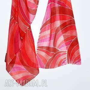 jedwabny malowany szal - graficzne wzory - czerwony szal graficzny, abstrakcja, jedwabny