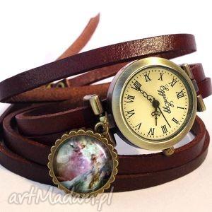 orion nebula - zegarek bransoletka na skórzanym pasku, prezent kosmos