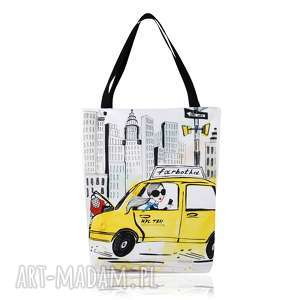 torebki torebka shopperka 1306 new york, grafika, pojemna, duża, shopping