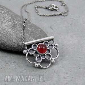 tiny pendant - czerwona mandala kwiat, rozeta, mandala, romantyczny