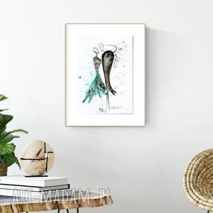 grafika A4 malowana ręcznie, minimalizm, abstrakcja czarno-biała,, turkus
