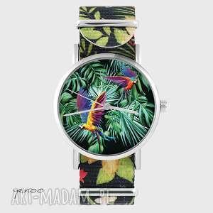 handmade zegarki zegarek - papugi, tropikalny - kwiaty, nato