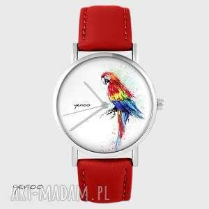 zegarek - papuga czerwony, skórzany, zegarek, pasek