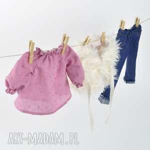 wrzosowa tunika jeansy, ubranka, lalki, tunika, dżinsy, szmacianki, świąteczny