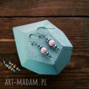 WHW Taste Earrings Pink Marble II, kolczyki, delikatne, subtelne, kamienne, marmur,