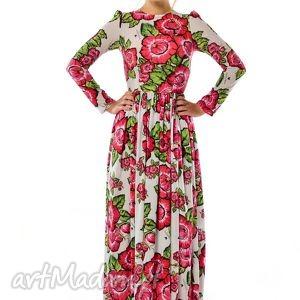 Damroka - szyfonowa suknia w czerwone kwiaty, długa,