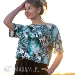 bluzki bluzka liście, letnia bluzka, opadająca