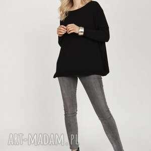 dzianinowa bluza - swe222 mkm czarny, dzianina, sweter, oversize, elegancki