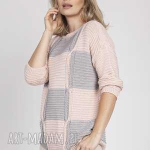 handmade swetry sweter w kratę, swe172 róż/szary mkm