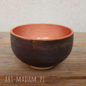 hand-made ceramika miseczka brązowo-czerwona