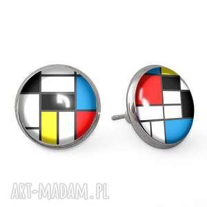 Mondrian - Kolczyki wkrętki - ,kolczyki,sztyfty,wkrętki,mondrian,kwadraty,art,