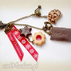 Świąteczny breloczek z czekoladą, ciastka, czekolada, słodkie, fimo, modelina