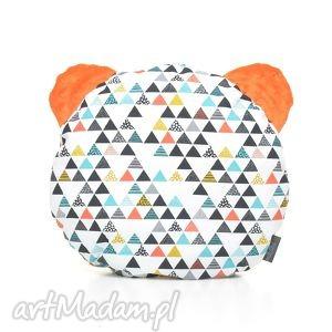 poduszka podusia miś kolorowe trójkąty pomarańczowy