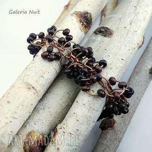 brąz - lekka bransoletka z drewna, lekka, drewniana, naturalna, miedziana, regulowana
