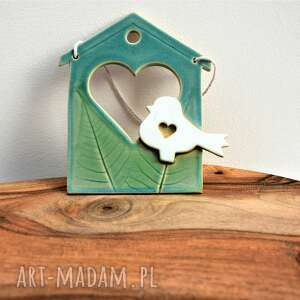ceramika tyka obrazek ceramiczny domek z ptaszkiem, obrazek, dekoracja