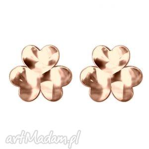 kolczyki koniczynki z różowego złota, kolczyki, sztyfty, modne, kobiece