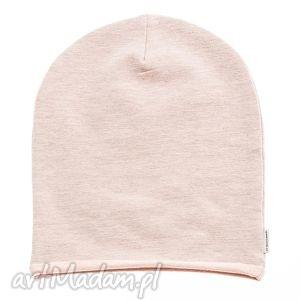 handmade czapki czapka beanie dres grey powder pink melange