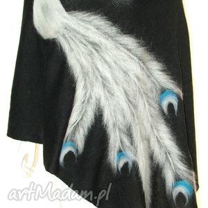 szal wełną zdobiony - wełna, filcowanie, pawie, ptaki, prezent