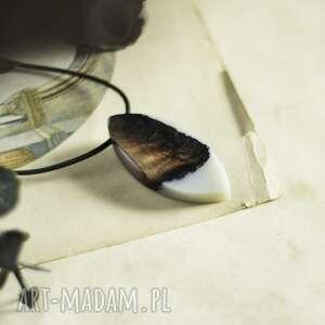 wisiorki prosty i elegancki wisior z szarej żywicy drewna, wisior