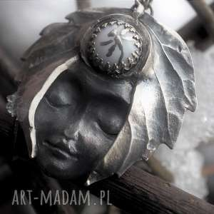 Srebrny wisior- zimowy sen, natura, twarz, las, driada, tajemnicze