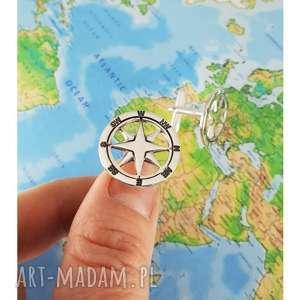 Srebrne spinki do mankietów róża wiatrów kompas, srebro, różawiatrów,