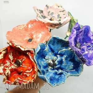 dekoracje wielkie ceramiczne kwiaty ogrodowe do domu handmade komplet 4szt
