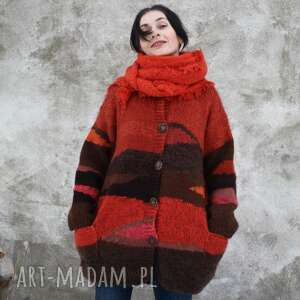 święta, sweter rudy, rękodzieło, prezent, wełna, dzianina, dla niej, unikat