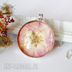 dzika róża - naszyjnik terrarium - róża, szklany, naszyjnik, boho, kwiaty