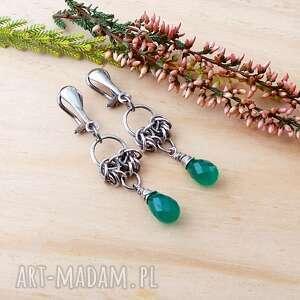 jewelsbykt kropelki na zielono - klipsy, srebro klipsy srebrne, onyks