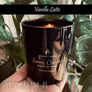 vanilla latte - naturalna świeca sojowa 230 ml biała/czarna
