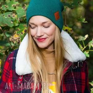 czapa dwustronna logo z ekoskórki forest beanie, czapka damska, czapka dwustronna