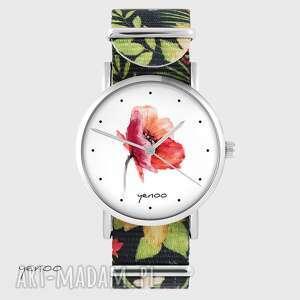 zegarek - mak kwiaty, nato, czarny, zegarek, bransoletka, pasek
