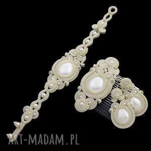 komplet ślubny syrine ivory, sutasz, soutache, ślubny, zestaw, perłowy, unikatowy