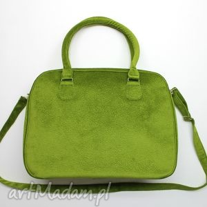 Kuferek weekend - tkanina tłoczona zielona na ramię torebki